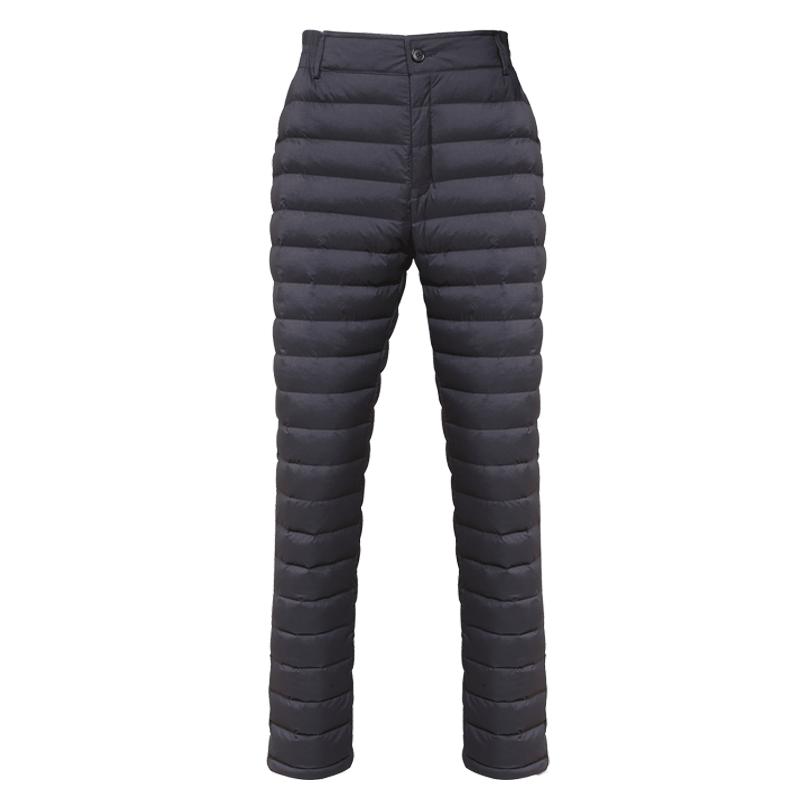 羽绒裤男中老年爸爸内穿高腰白鹅绒冬季外穿加厚保暖羽绒棉裤男士