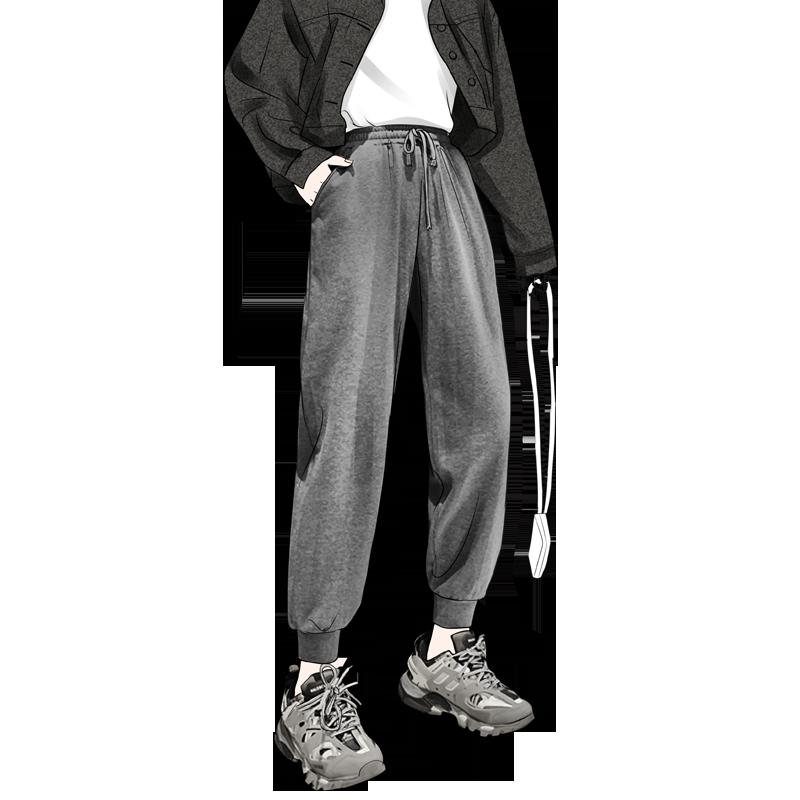 灰色运动裤女宽松秋季显瘦高腰百搭休闲卫裤2020新款ins潮束脚裤