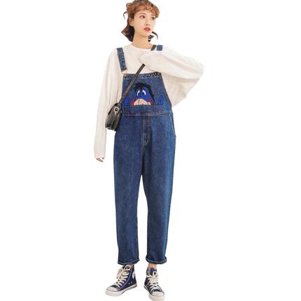 网红减龄背带裤韩版宽松秋季牛仔裤