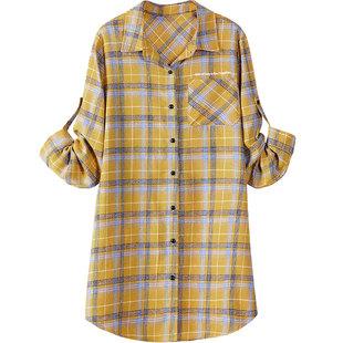 中年格子衬衫女复古洋气中长款外套2020春秋新款宽松薄衬衣妈妈装
