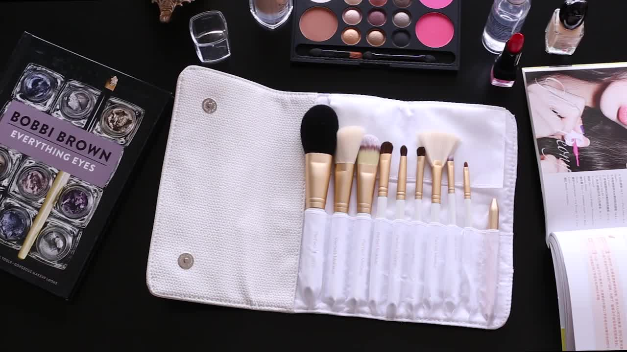 10pcs Pro golden ferrule White Makeup brushes Cosmetic natural hair High quality makeup brush