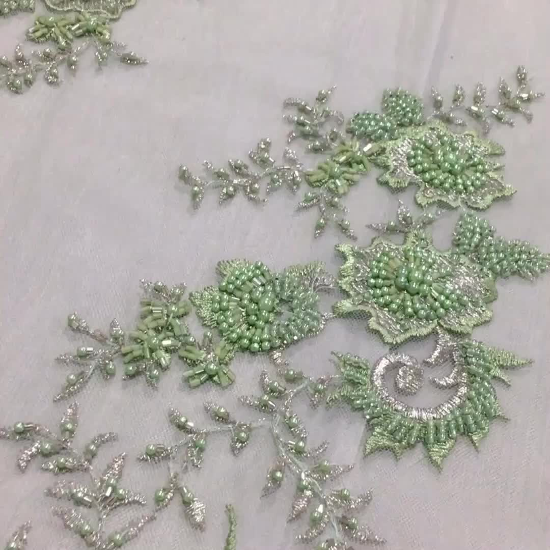 High quality green tulle african organza lace fabric embroidered