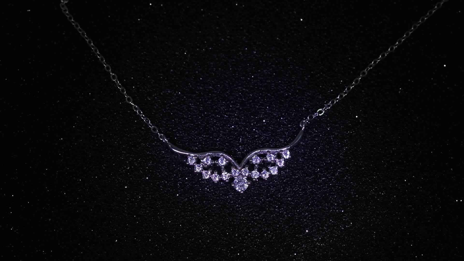 fashion 925 sterling silver wing shape rhodium plating pendants