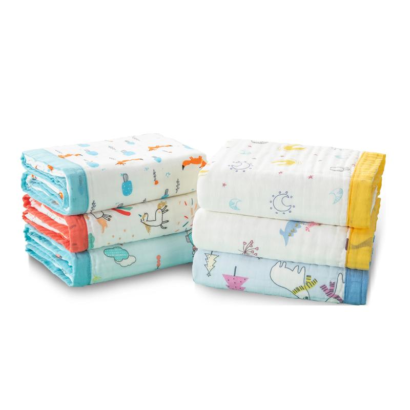 婴儿浴巾纯棉纱布宽边宝宝竹棉盖毯婴幼儿洗澡超柔吸水新生儿被子