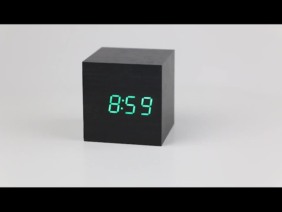 usb aaa powered cube led digital alarm clock square modern. Black Bedroom Furniture Sets. Home Design Ideas