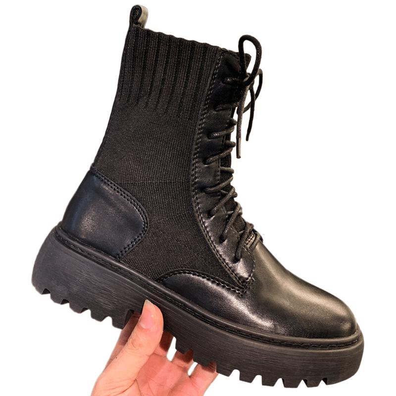 2019新款秋冬季百搭瘦瘦英伦风短靴秋款内增高马丁单靴子女鞋加绒