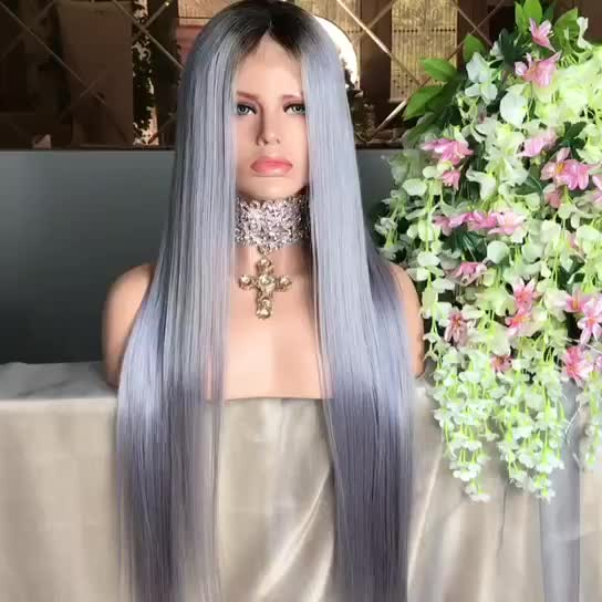 New Collection Grey Straight Virgin Human Hair Lace Front Wig With Dark Roots In Stock