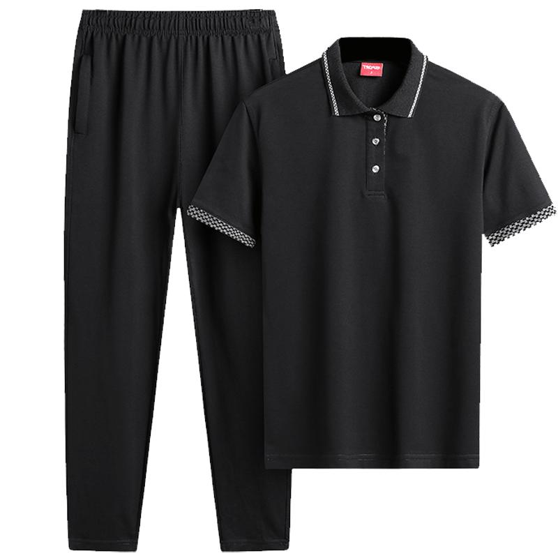 运动套装男夏季休闲爸爸装中老年父亲运动服POLO衫短袖长裤保罗衫
