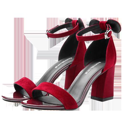 kumikiwa卡米羊皮绒面酒红色高跟鞋