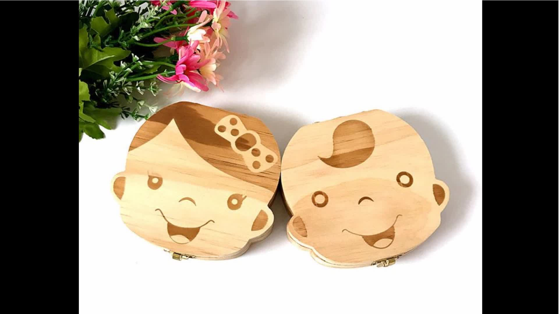 wooden tooth box for boys girls baby first tooth fairy box tooth shape box