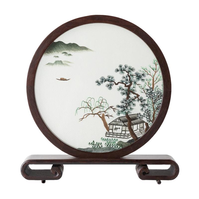 湘传礼湘绣手工刺绣双面绣卧室书房桌台面圆屏摆件新中式艺术礼品