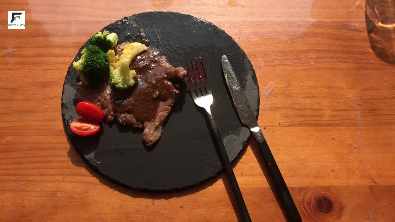 Various shapes and sizes natural slate restaurant plates dinner plate round black stone plates for tableware