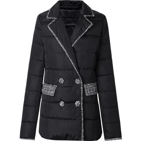 欧洲站冬装2019新款欧货时尚西装领修身收腰轻薄羽绒服女亮面短款