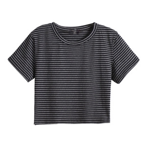 复古撞色条纹t恤2021夏季打底衫