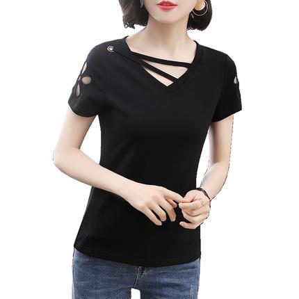 短袖女v领2019新款韩版黑色夏t恤