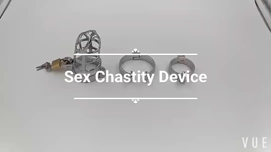 Male Chastity Lock Device, Stainless Steel Cock with 5 Different Size Rings and a Lock for Male Penis Exercise Suitable for Most