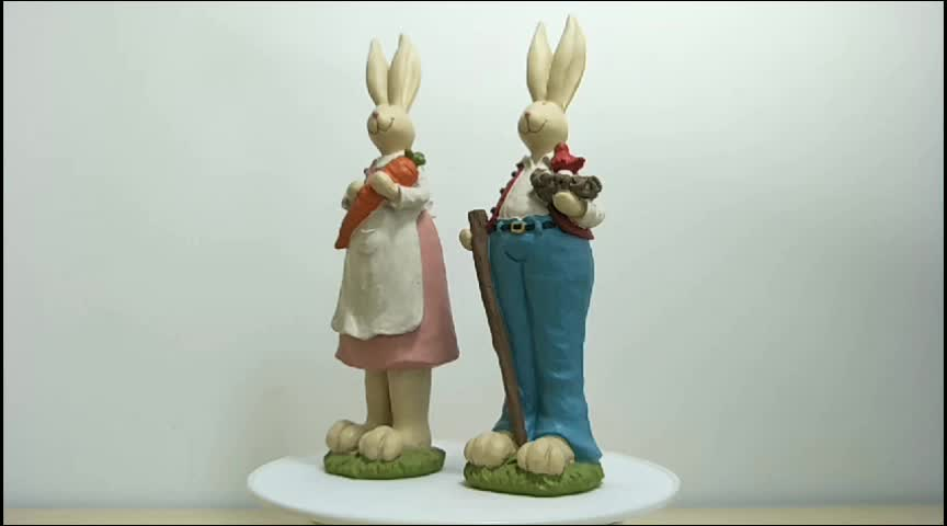 Wholesale Products Easter Decoration Polyresin rabbit statues