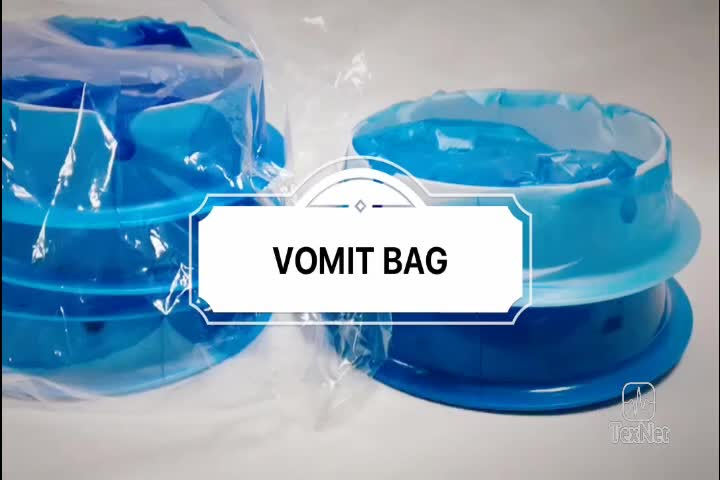 High quality Disposable Biodegradable Blue Custom Printed Vomit Bag Paper Nausea Bags for Travel Motion Sickness