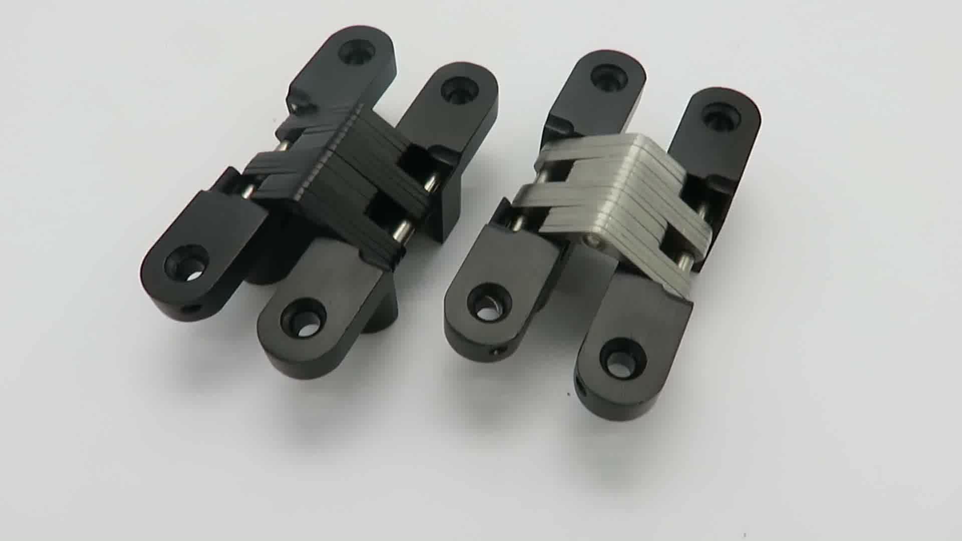 Black Zinc Alloy Concealed Hinge Stainless Steel Door Heavy Duty
