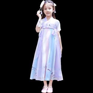 改良漢服女童古裝夏季公主連衣裙超仙小女孩衣服中國風短袖演出服