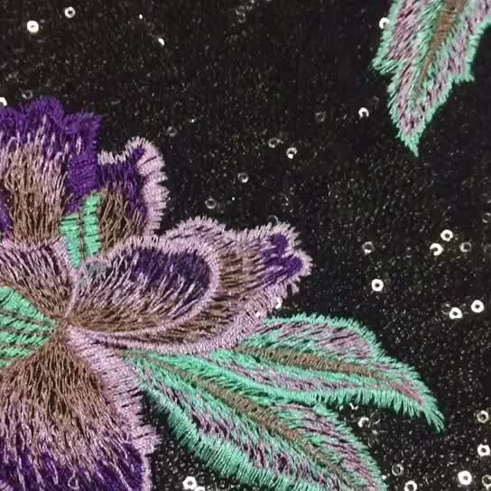Breathable Embroidery Design Sequin Net Embroidery Fabric