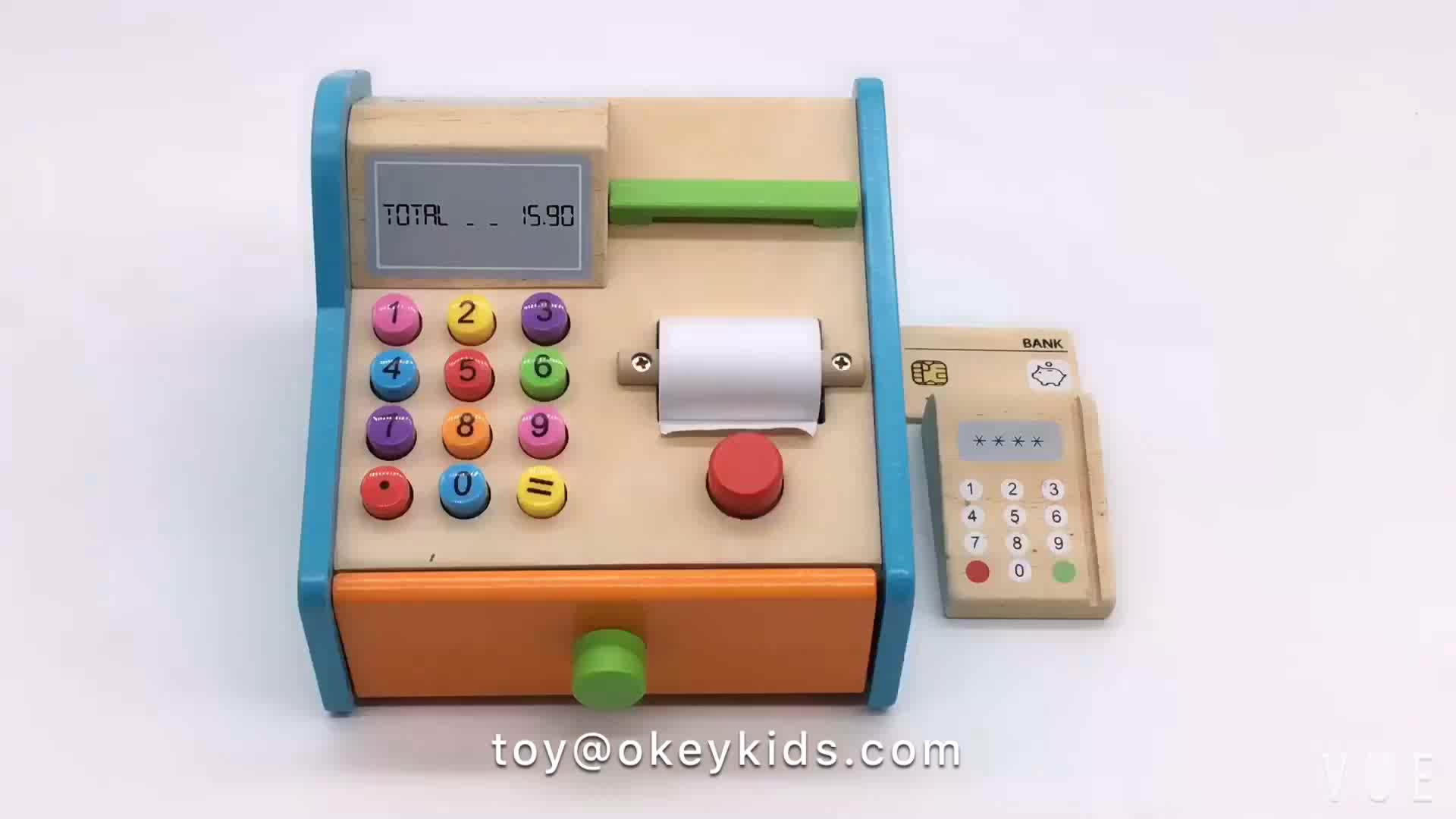 Wholesale funny role play supermarket toy wooden kids cash register toy for children W10A070