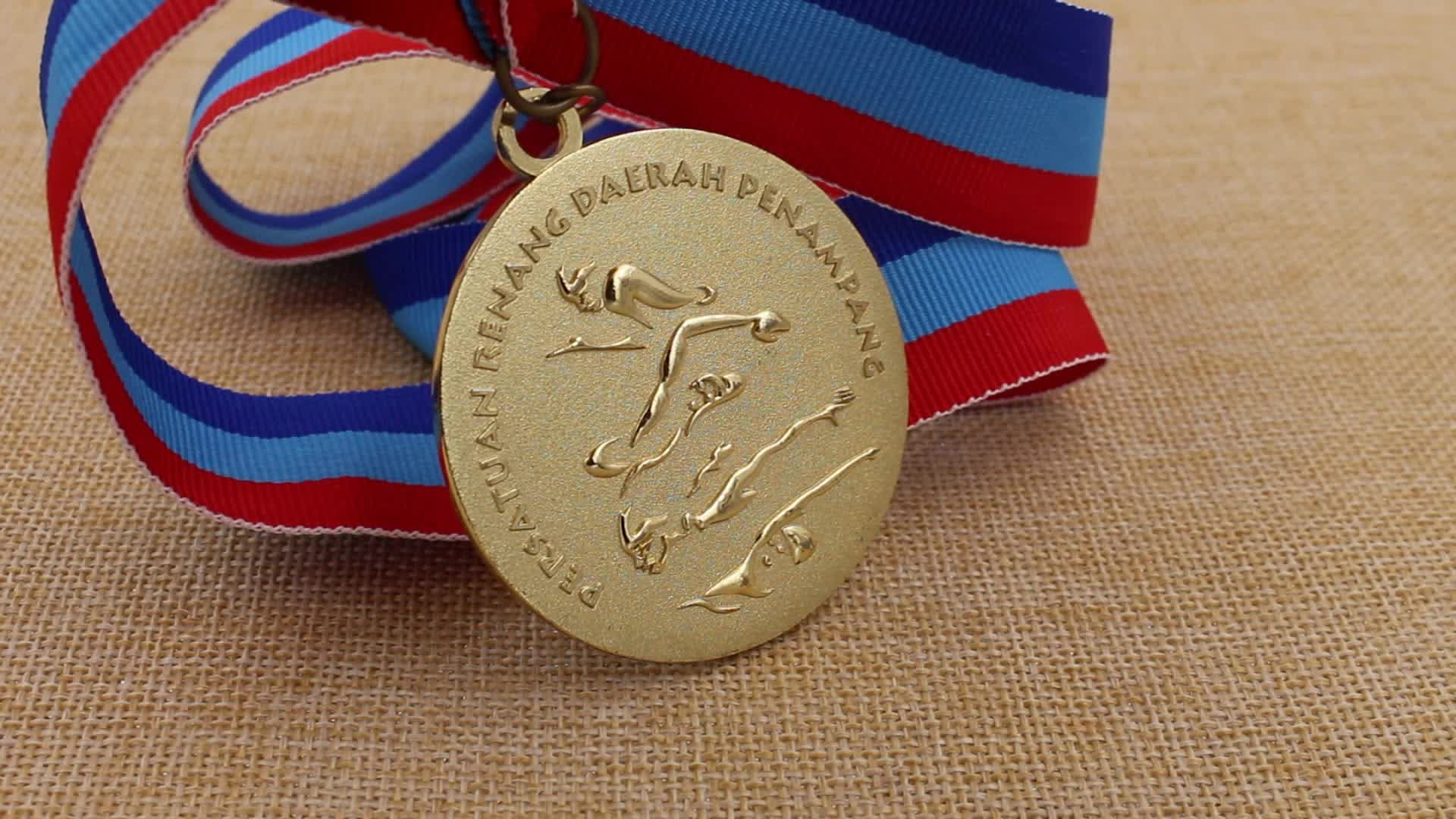 Wholesale cheap gold silver bronze swimming sports medals