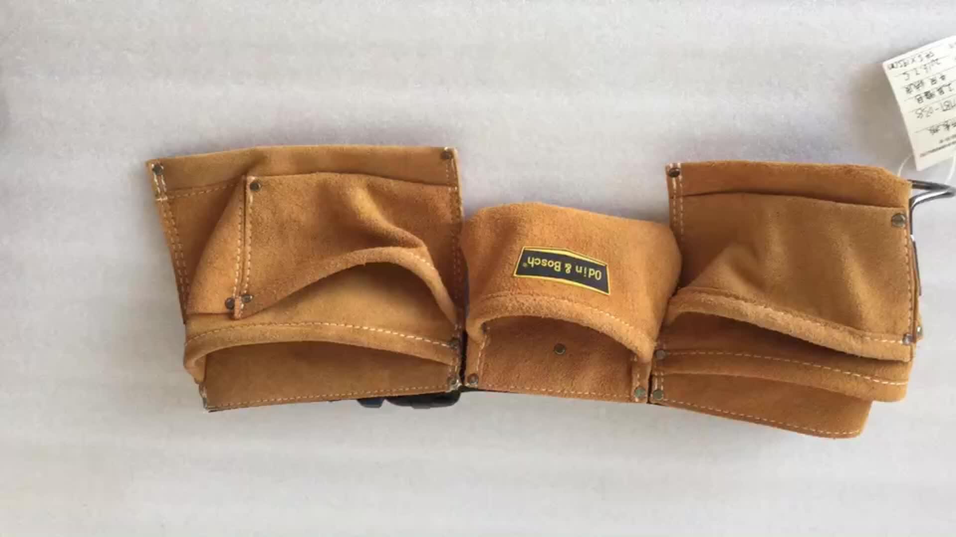 high quality OEM pure leather electrician bar waist tool belt bag