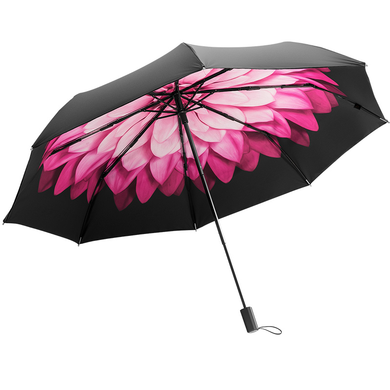 蕉下大花太阳伞防晒防紫外线晴雨两用伞女遮阳小黑伞双层黑胶伞