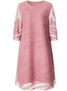 婚礼妈妈连衣裙礼服裙2021夏季高端大码女装时尚年轻喜婆婆婚宴装