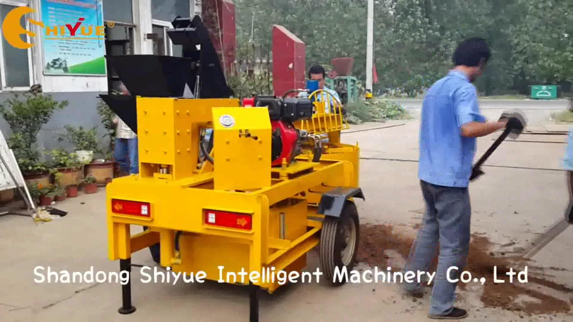popular M7MI mobile diesel clay interlocking brick machine