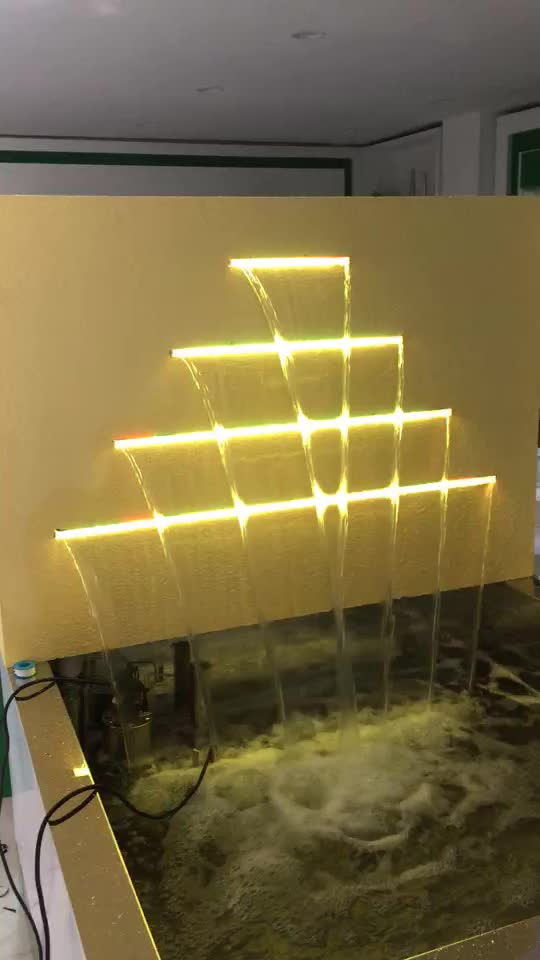 Wall mounted colorful lighting decoration indoor stainless steel water sheer descent