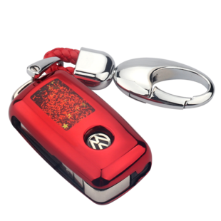 大眾鑰匙殼改裝朗逸高檔鑰匙套帕薩特速騰寶來高爾夫汽車鑰匙包女