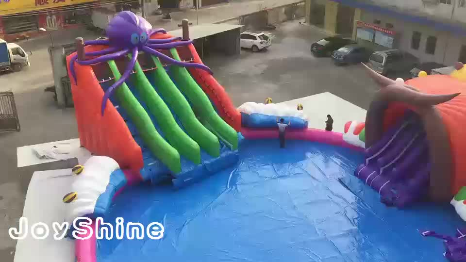 Portable Children Kids Amusement Water Slide Swimming Pool Equipment Mobile Inflatable Commercial Water Park On Land
