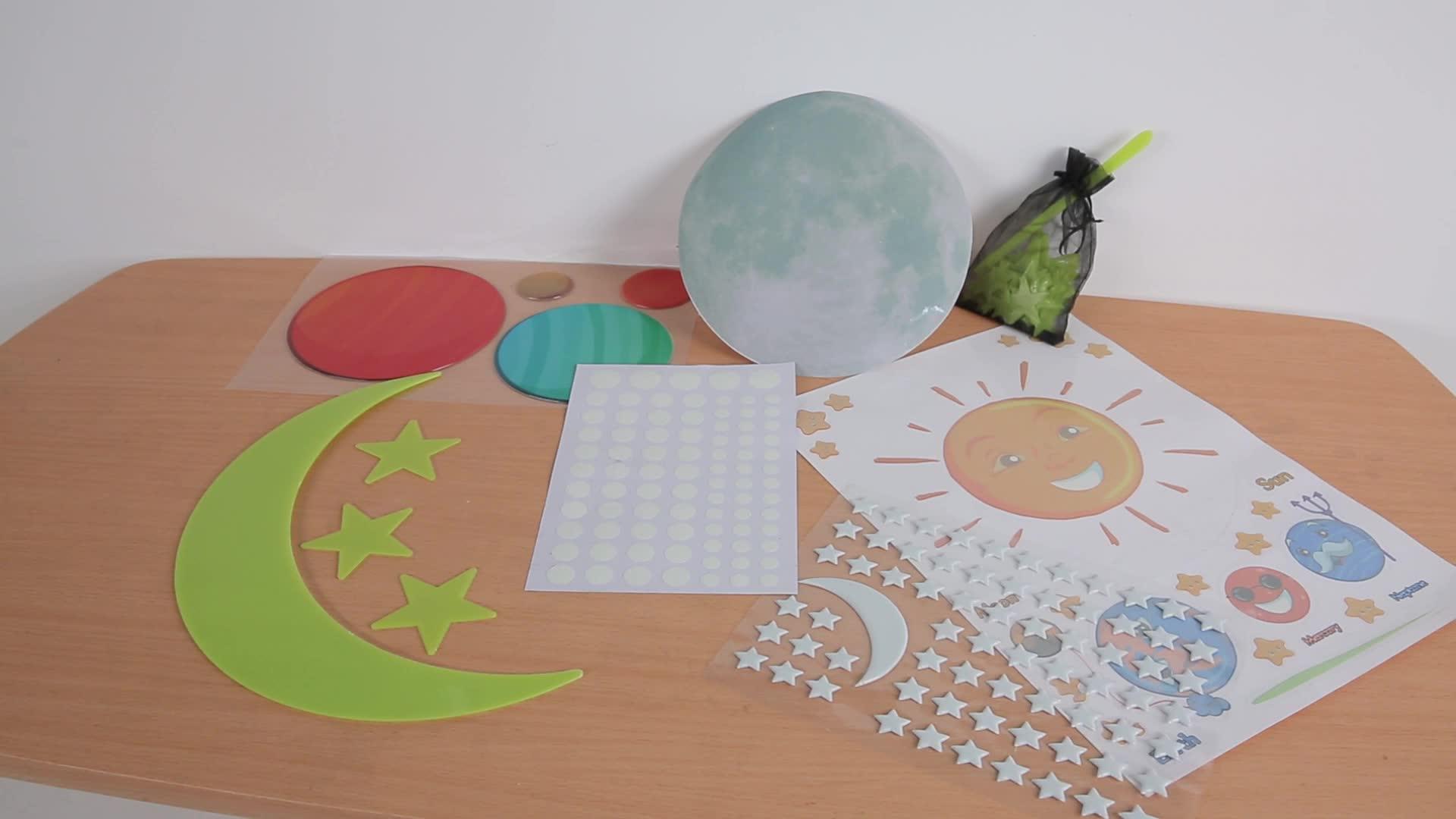 Pour l'éducation Solaire Système Stickers Muraux Fun Planètes dans L'espace Stickers Muraux L'exploration Spatiale planètes du système solaire mur autocollant