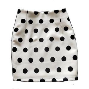 2021春夏新款女黑白色波点半身裙韩版显瘦弹力高腰包臀短裙一步裙