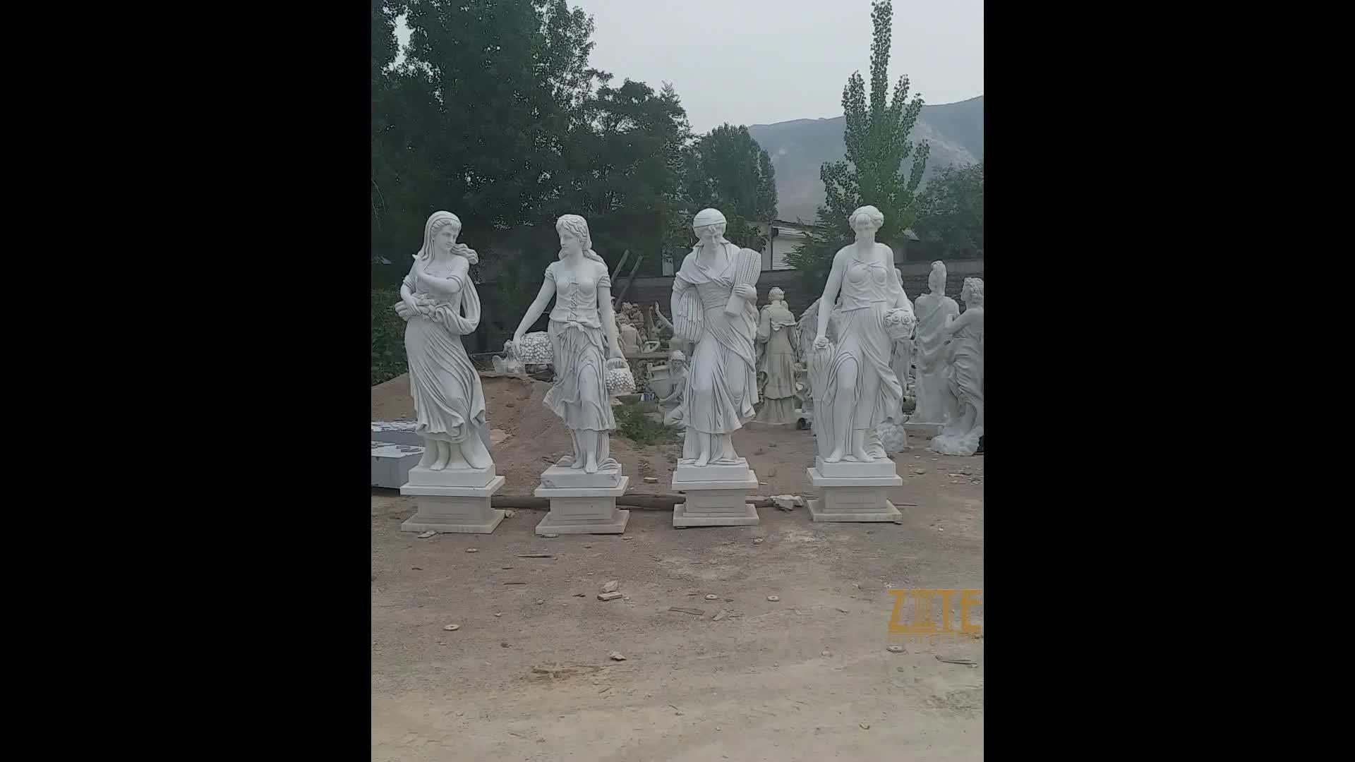 Novos projetos de alta qualidade ao ar livre mármore estátuas de quatro estações