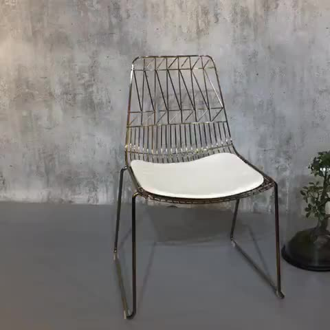 Luxury modern wholesale leisure chair bertoia wire gold metal lucy chair