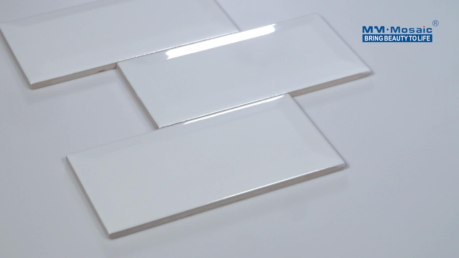 Klaring Goedkope home improvement muur keuken badkamer backsplash 3x6 super wit bevel metro tegels metro tegel keramische
