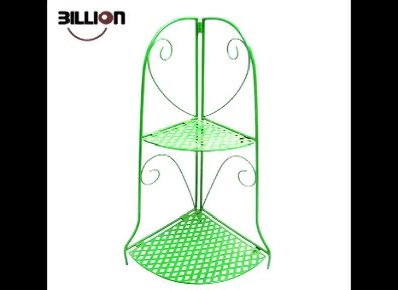 Convenience Concepts 2 Tier Folding Green Metal Corner Shelf