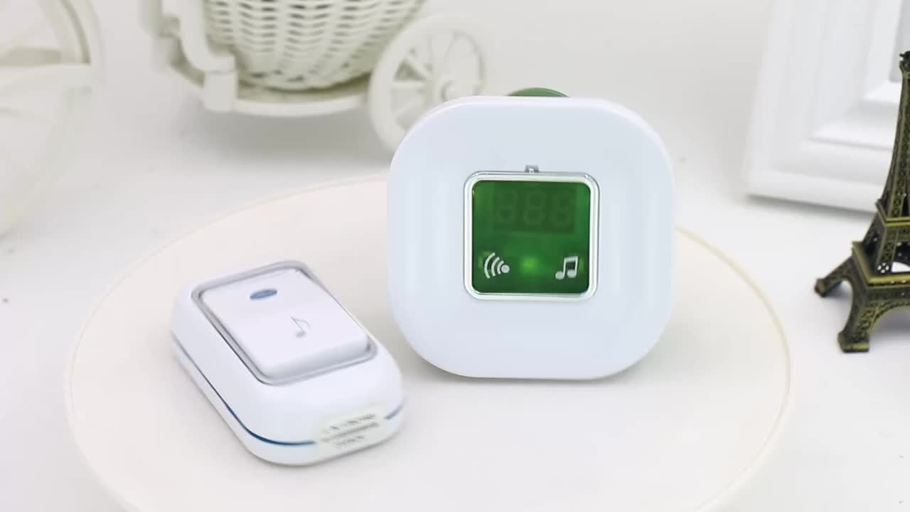 Indoor Portable Plug-in Wireless Digital Ding-dong Doorbell Door Chime hotel doorbell with Temperature Display