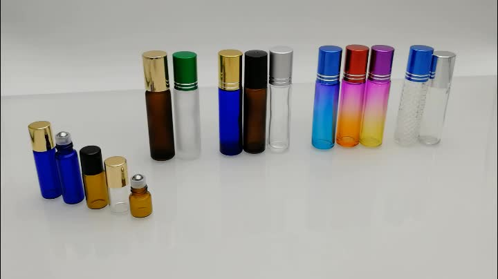 Essential oil 8ml 10ml amber clear blue colors glass roll on bottles with stainless steel roller ball
