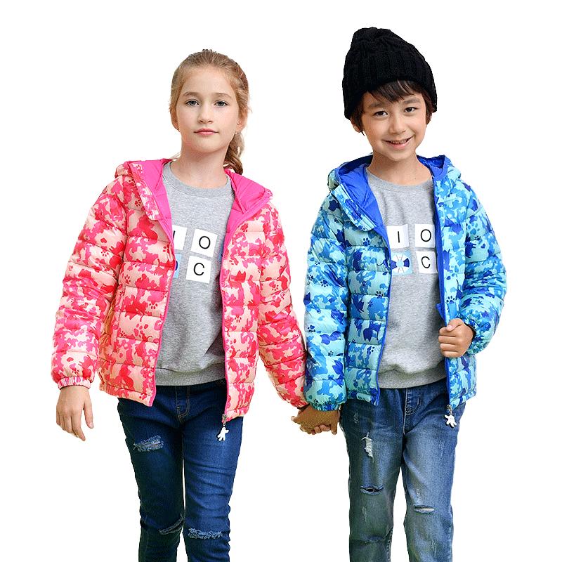 法国mioocat儿童羽绒服男女童中长款连帽迷彩印花加厚冬装外套
