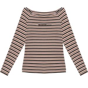 修身显瘦条纹长袖小个子2021 t恤