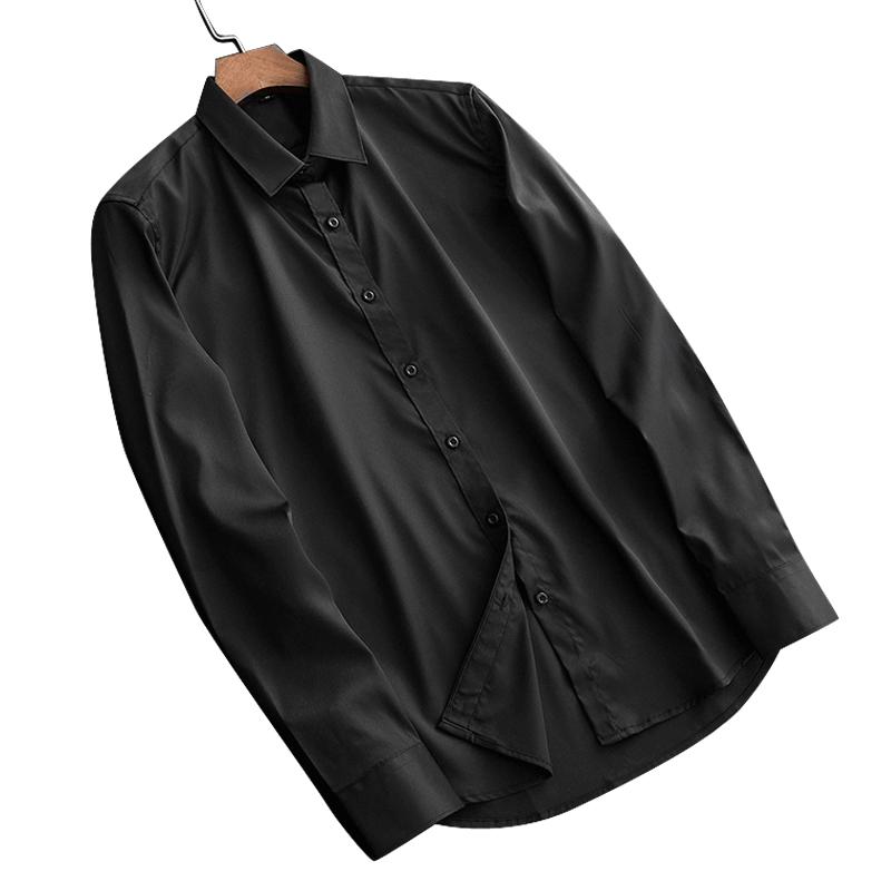 高级感定制衣服衬衣男长袖商务正装高端黑色真丝休闲男装印花衬衫