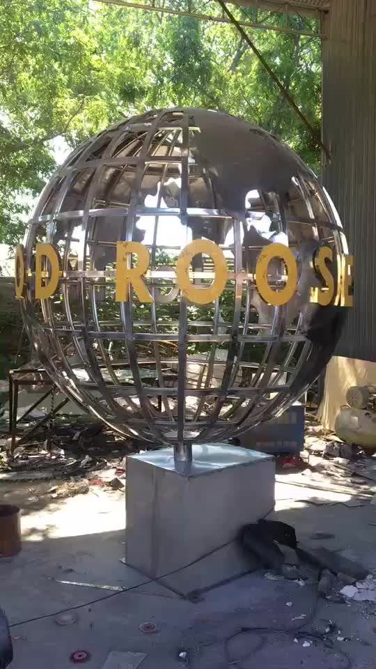 Outdoor stainless steel metal ornament golden globe sphere sculpture