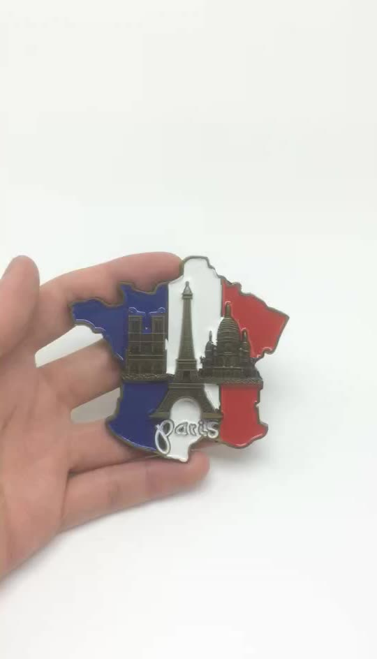 Wholesale customize Paris enamel metal fridge magnets pins