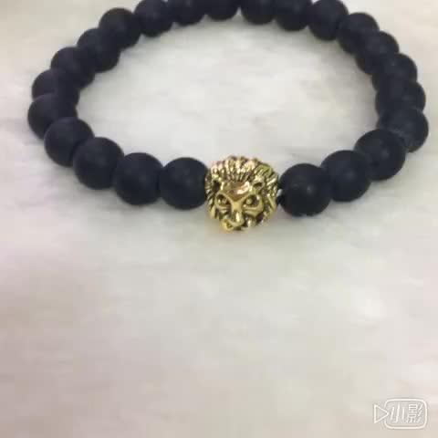 Nouvelle Mode Pas Cher Lion En Pierre Naturelle Perles De Lave Charme Élasticité Mat bracelet