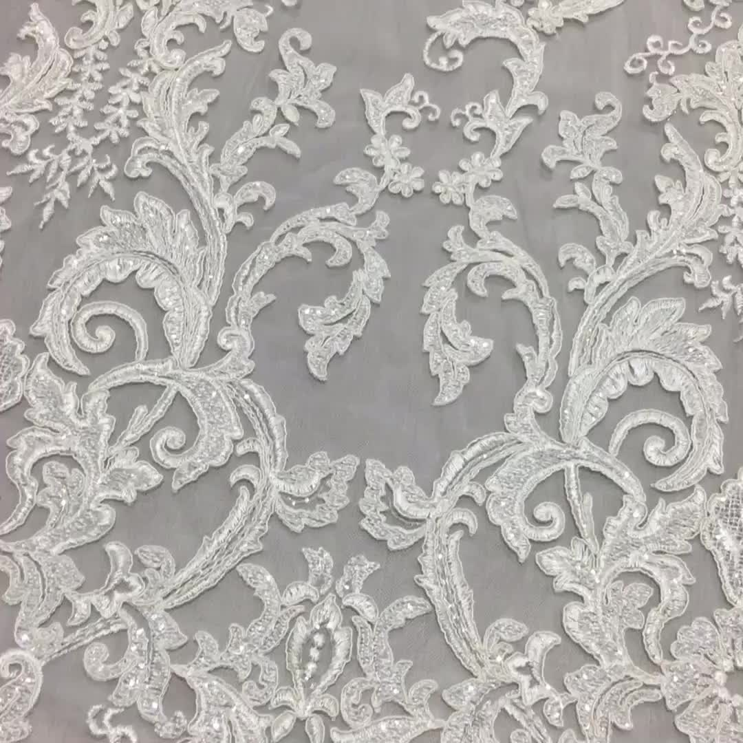 Latest style high quality bridal white lace dress fabric embroidery for wedding