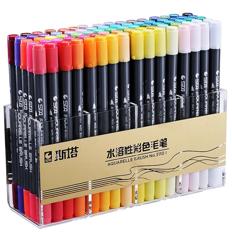 正品STA斯塔3110双头水溶性彩色马克笔套装秀丽签名笔漫画马克笔软头 手绘设计学生用水彩笔美术生专用绘画笔